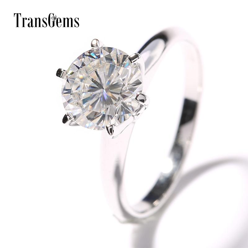 Transgems 14k White Gold 2 carat Diameter 8mm F Color moissanite Engagement Ring For Women Solitare цены онлайн