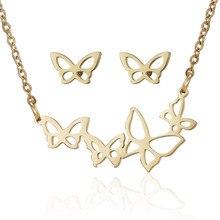 Наборы из нержавеющей стали золотого цвета с животными бабочками для женщин, ожерелье, серьги, ювелирный набор, свадебные украшения, подарок на день Святого Валентина