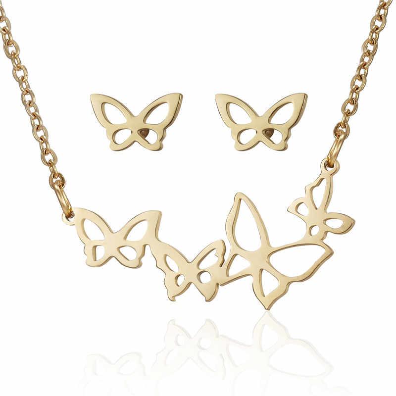Animale Farfalla di Colore Dell'oro Set In Acciaio Inox Per Le Donne Degli Orecchini Della Collana Dei Monili Set Monili di Cerimonia Nuziale di san valentino Regalo di Giorno