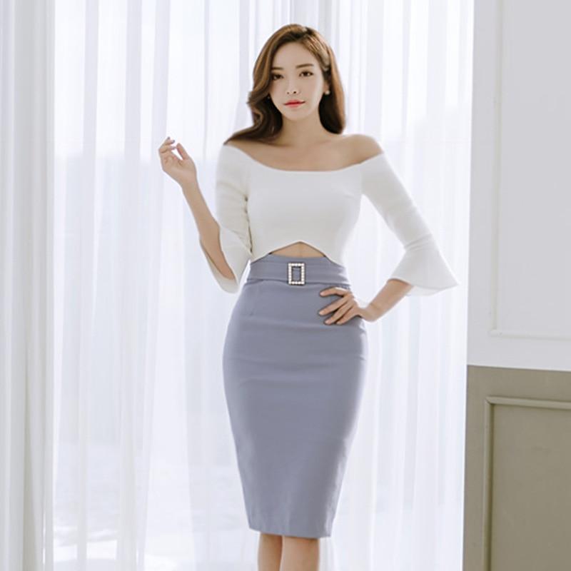 COLOREE Women Slash Neck Off Shoulder Retro Contrast Patchwork Wear To Work Business Vestidos Office Bodycon Sheath Female Dress