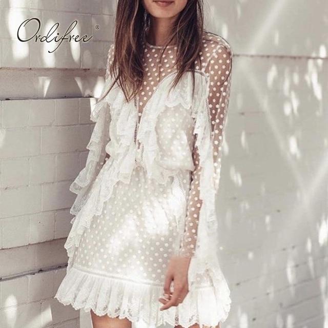 153aa98ac6ae Ordifree 2019 Summer Women White Ruffle Dress Long Sleeve Mesh Sexy  Transparent Polka Dot White Lace