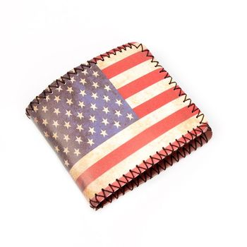 ISKYBOB USA National Flag Leather Wallets Stars and Stripes Wallet Men's Money Bag Men Wallets