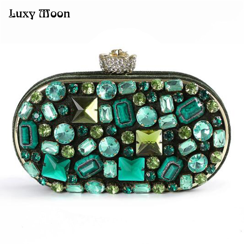 Green Diamond Evening Bags Box Day Clutch Crystal Evening Wedding Party Banquet Purses with Chain Handmade Beaded Handbag Totes newest design evening bags ring diamond clutch chain shoulder bag purses wedding party banquet bag blue gold green red 88621 d