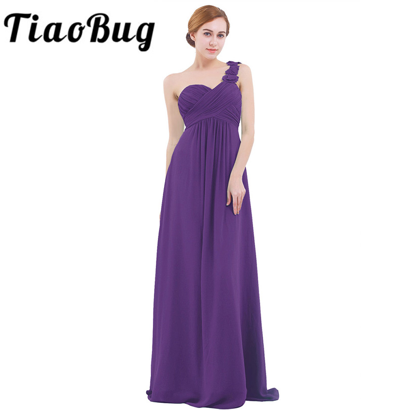 Women Adults Long Bridesmaid Dresses vestidos de fiesta One Shoulder Floor Length Chiffon Long Bridesmaid Gowns Beading Dresses(China)