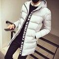 Moda amassado jaqueta outerwear engrossar algodão acolchoado do revestimento do revestimento dos homens longo inverno manga destacável com capuz fino colete masculino