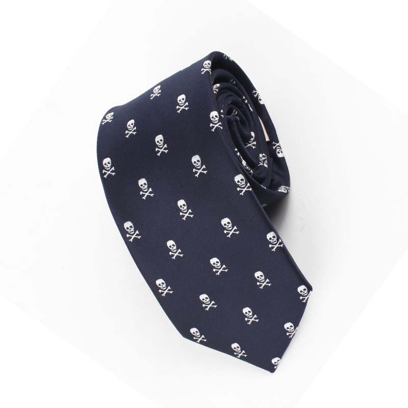 Mantieqingway Men's Suit Business Polyester Printed Neck Ties for Men Wedding Necktie Slim Gravata Skull Blue Cravat Neckwear