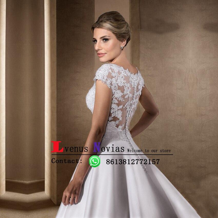 Vestido De Casamento Gorgeous Beaded Lace Satin Wedding Dresses Boho ...