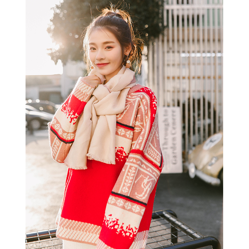 2018 Pullover sweater retro short paragraph lazy loose sweet cute thick Christmas sweater