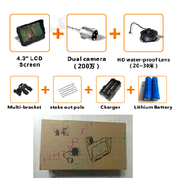 HD Underwater Video Fish Finder with 30M 2MP Fishing Camera & 4.3 LCD Monitor 4000mAh Battery Built-in Multi-Language Supported_ACC