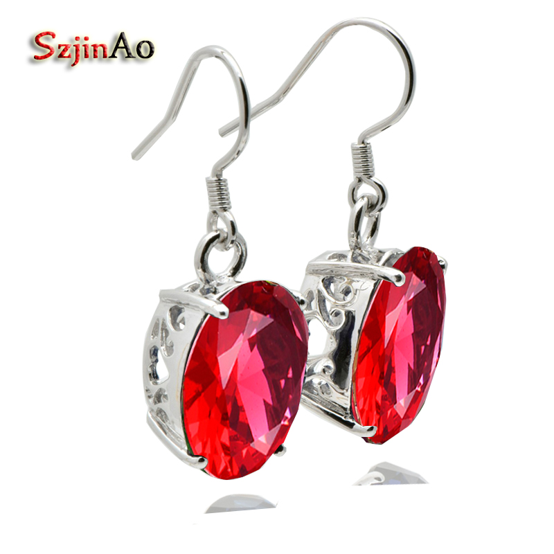Szjinao Luxury real 925 sterling silver earrings oval ruby women luxury wedding earrings brincos vintage цены онлайн