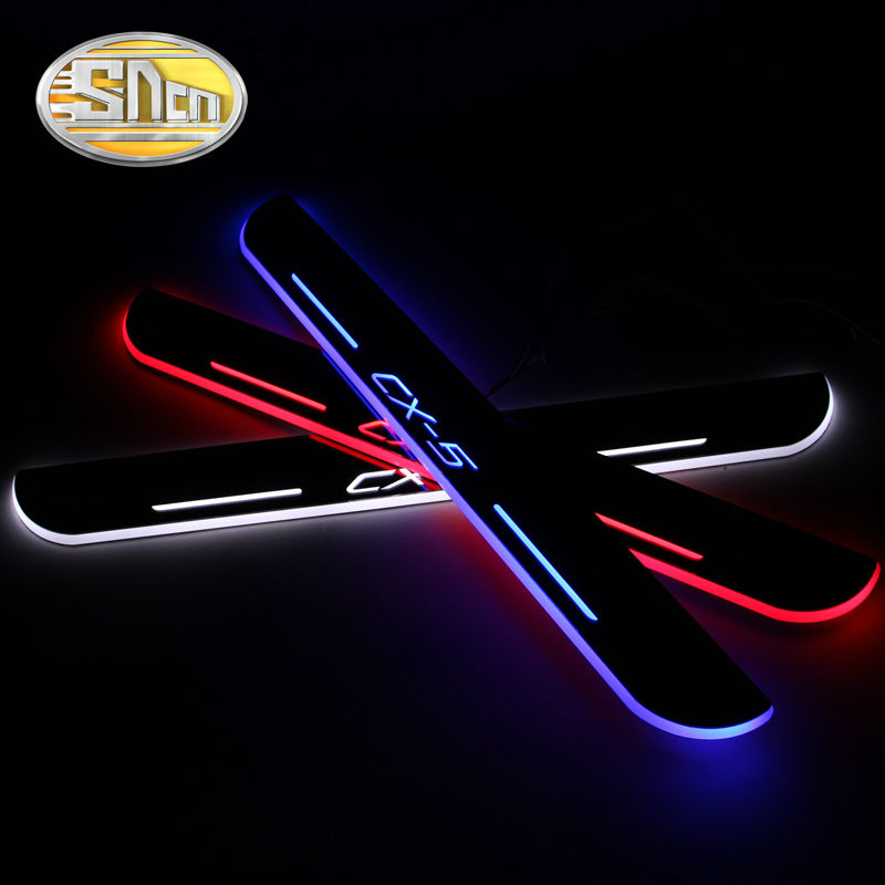 SNCN Waterproof Ultrathin Acrylic Auto LED Welcome Light Car Scuff Plate Pedal Door Sill For Mazda CX-5 CX5 2017 2018 waterproof ultrathin acrylic car led welcome light scuff plate pedal door sill for mazda 6 2013 2014 2015 front door sill