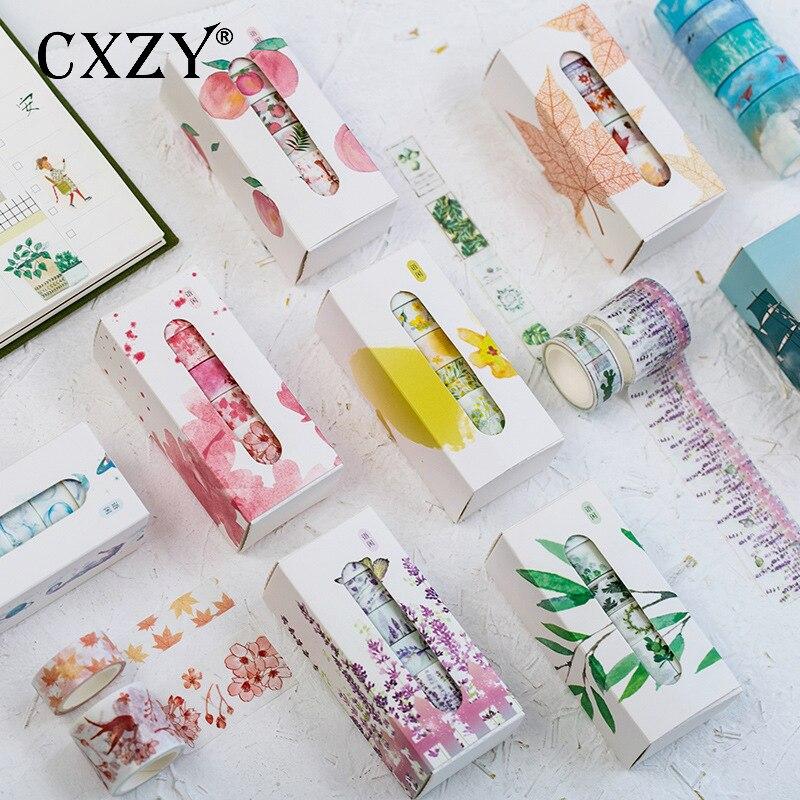 CXZY 5pcs/set Plant Floral Ocean Sky Washi Tape Pink Purple Masking Scrapbooking Bullet Journal Washitape Adhesive Planner 1J815