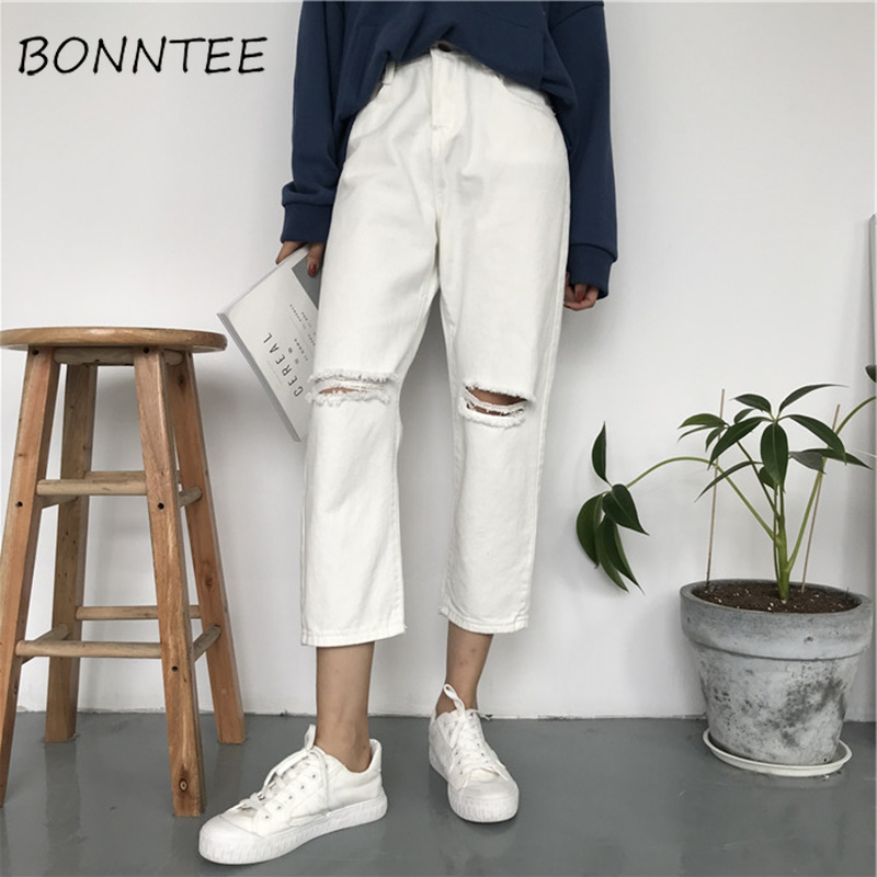 Jeans Women Denim Holes Solid Simple Zipper Pockets Casual Womens All-match High Waist Trousers Student Daily Loose Korean Style