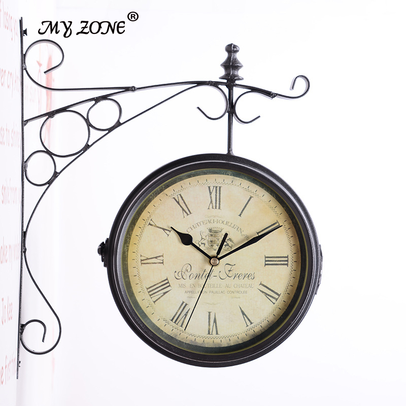 europe retro creative double wall clock fashion mute home decoration hanging clocks wedding room decotions free