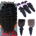 Brazilian Virgin Hair With Closure AliBarbara Hair Products 3 Bundles Human Hair With Closure Brazilian Loose Wave With Closure
