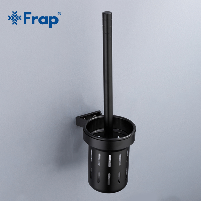 FRAP High Quality America Bathroom Accessories Wall Mounted Black Space Aluminum Household Bathroom Toilet Brush Holder Y18053