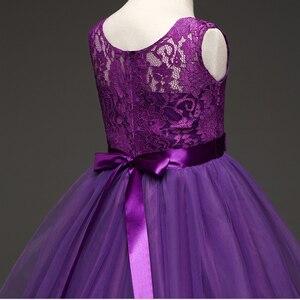 Image 3 - JaneyGao robes de fille à fleurs pour la fête de mariage longue Style adolescente robe première Communion Pageant robes blanc violet chaude