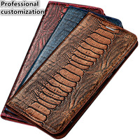 YM05 Ostrich Foot Pattern Genuine Leather Magnet Phone Bag For Huawei P Smart Case For Huawei Enjoy 7S Flip Case