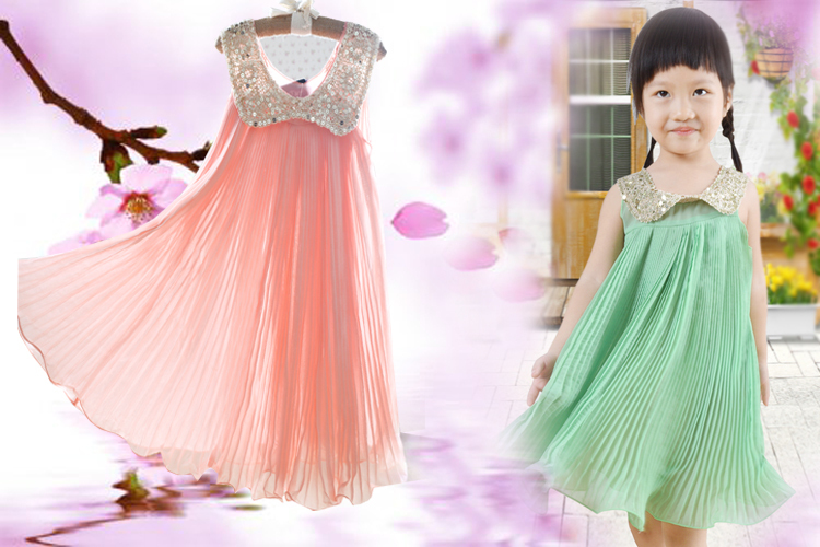 Hot sale! 2017 Summer Girls Pleated Chiffon One-Piece Dress With Paillette Collar Children Colthes For Kids Baby, Pink/Green