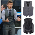 2014 Europe and American Star Waistcoat Mens Brand Causal Grey Slim Fit Suit Vest Plus Size Prefect Jacket Free Shipping