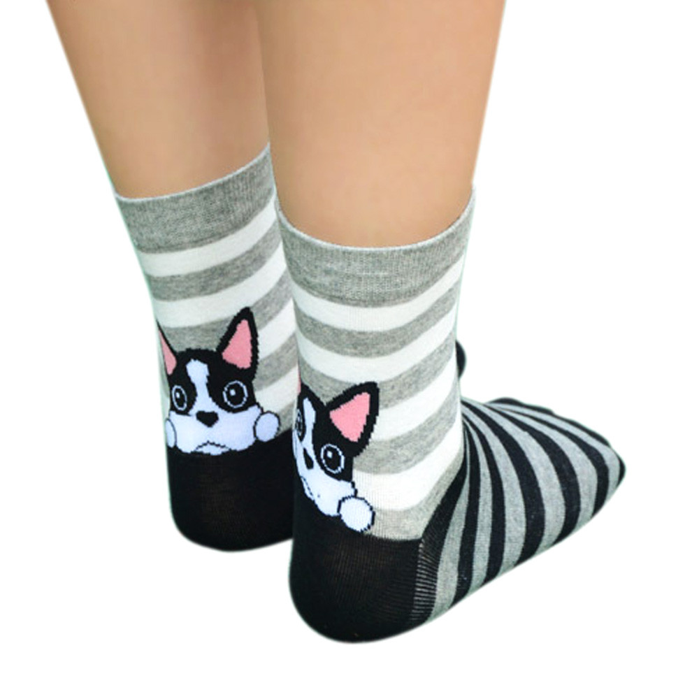 Socks Girls calcetines mujer Fashion 3D Print Funny Low Cut Xmas Socks Cotton Animal Dog Casual Sock meias Animals cartoon Sock