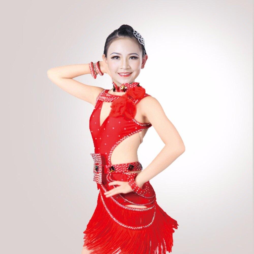 Latest Girl Latin Dance Dress Flash Color Tassel Fashionable Teen Girl Ballroom Dancing Skirt Children Rehearsal Show Wear 2051