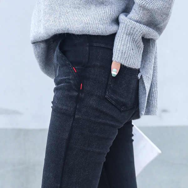4c3899ef1a8 Узкие джинсы женские 2019 новая весенняя мода бойфренд мыть эластичные джинсовые  брюки карандаш тонкий капри брюки