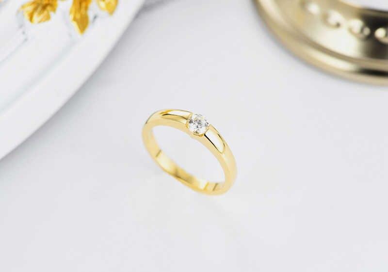 YANHUI 100% Tinh Khiết 925 Bạc Vàng Nhẫn Solitaire CZ Engagement Nhẫn Cưới Đối Với Phụ Nữ và Nam Giới Kích Thước 5 6 7 8 9 10 11 12 13 MKR10