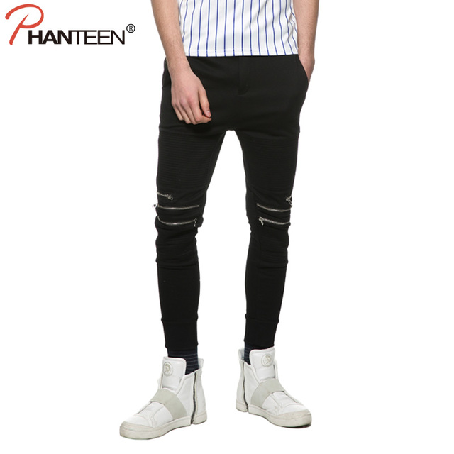 European And American Kanye Style Man Slim Fit Pants Zipper Pleated Pencil Pants Black Hiphop Streetwear Fashion Men Joggers