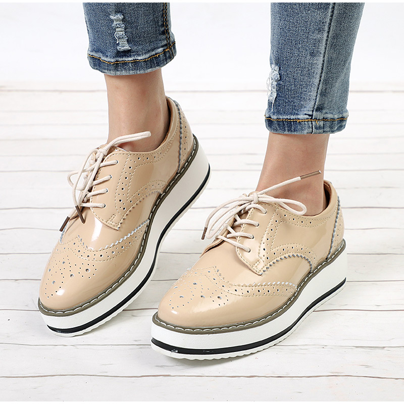 Women Flat Platform Autumn Oxfords Ladies Derby Patent Leather Brogue Shoes Female Lace Up Thick Bottom Casual Fashion Footwear smile circle spring autumn women shoes casual sneakers for women fashion lace up flat platform shoes thick bottom sneakers