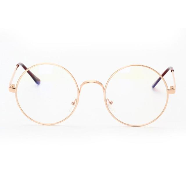 66921dff77ce Unisex Retro Round Glasses Spectacle Radiation Protection Stylish and Fashionable  Metal Frame Women Men Vintage Plain Glasses