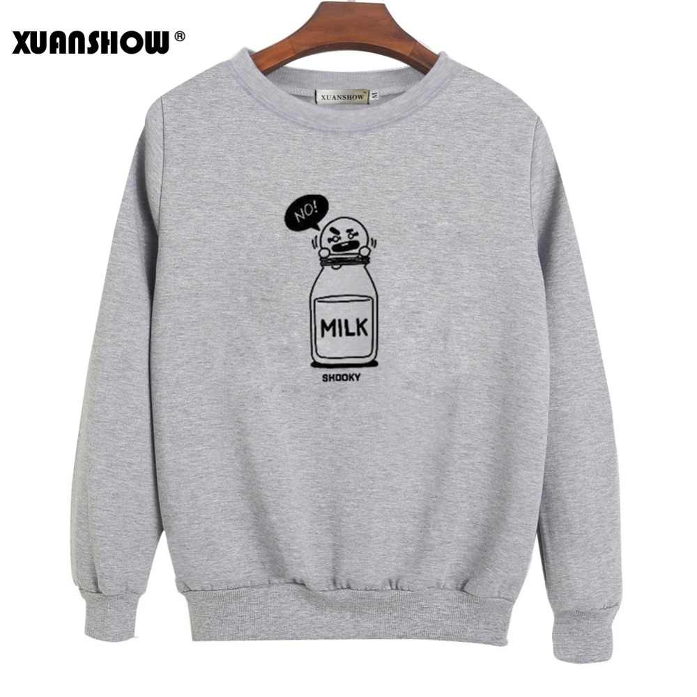 XUANSHOW 2019 SHOOKY CHIMMY קריקטורה חלב מכתבי אופנה חולצות Streetwear גבר אישה בסוודרים בגדי Sudaderas 5XL