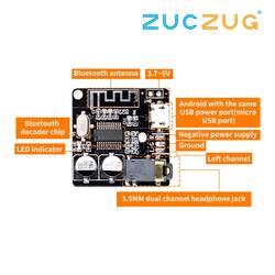 Bluetooth плата аудиоресивера Bluetooth 5,0 mp3 декодер не допускающий потерь доска Беспроводной музыке стерео модуль