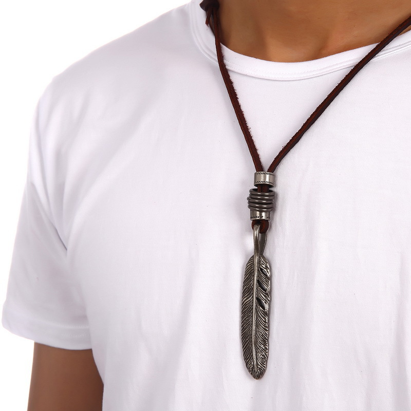 Fashion men punk hip hop jewelry retro feather necklace leather fashion men punk hip hop jewelry retro feather necklace leather chain length adjusted 40 80 cm filling pieces men necklace gifts in pendant necklaces from aloadofball Gallery