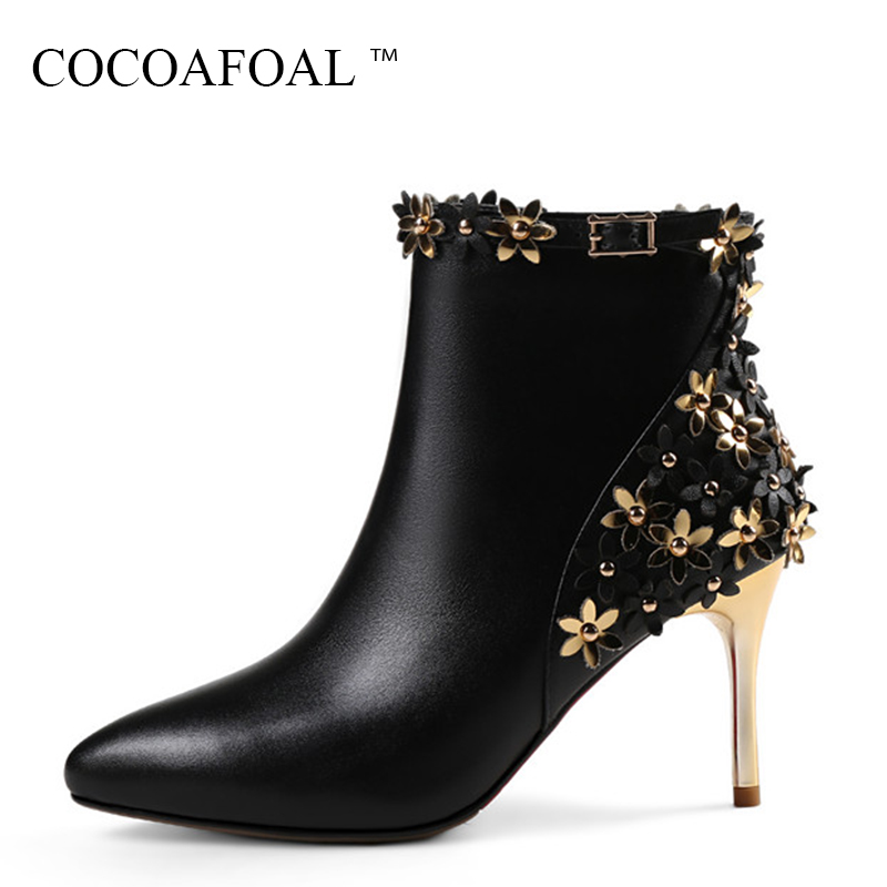 COCOAFOAL Woman Genuine Leather Flower Ankle Boots Autumn Winter High Heeled Shoes Black Fashion String Bead Pointed Toe Boots ea7 ea7 ea002emhee61