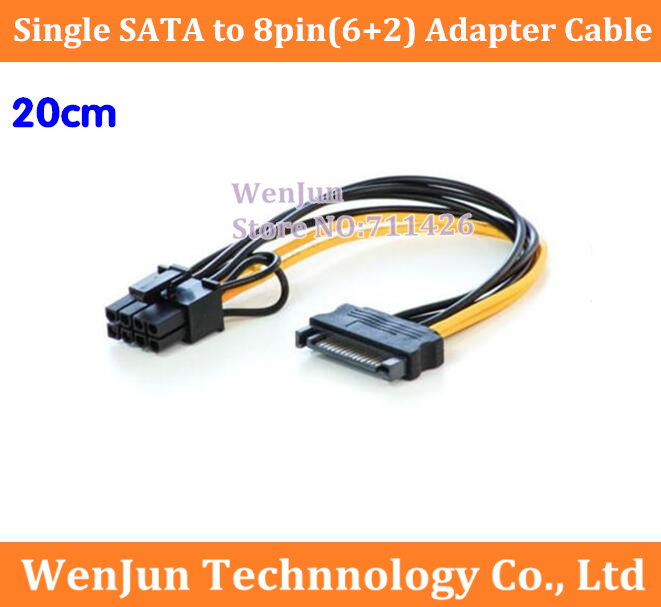 10PCS NEW Single SATA 15pin to 8pin(6+2) Powr Adapter Cable 20cm <font><b>PCI</b></font>-<font><b>E</b></font> SATA Power Supply Cable 15-<font><b>pin</b></font> to <font><b>8</b></font> <font><b>pin</b></font> cable image
