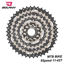 BOLANY Cassette 9 Speed Gear Ratio 11-42T MTB Bicycle Freewheel Sprocket Silver black Mountain Bike Accessories For Shimano