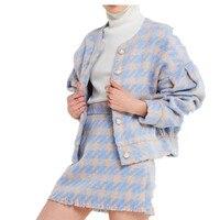 2018 Women vintage Skirt Sets Winter Ladies Woolen Tweed Jacket+ Short Skirt Suits Elegant Two Pieces sets