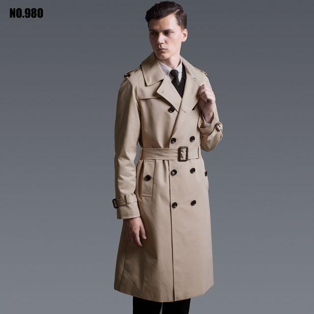 Spring And Autumn Men's New Trench Coat 2018 British Fashion Leisure Coat Raglan Long-sleeved Slim Outwear Men Long Coat S-6XL