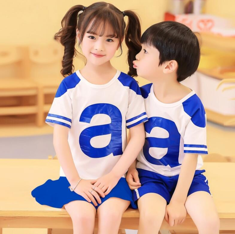 Preppy style Cute boys and girls children clothing sets with letters E-27