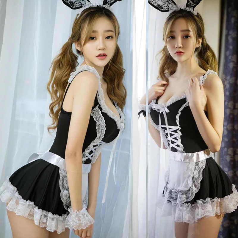 de43c9bfe2f Adult Women Sexy French Maid Costume Short Mini Temptation Lace Dress  Erotic Lingerie Outfit Lacing Up Uniform For Lady & Girls