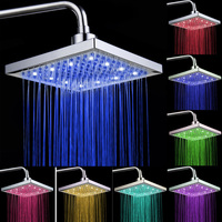 7 Colors Mixed LED Shower Head Colorful Light Top Sprayer Square Rain Shower Heads