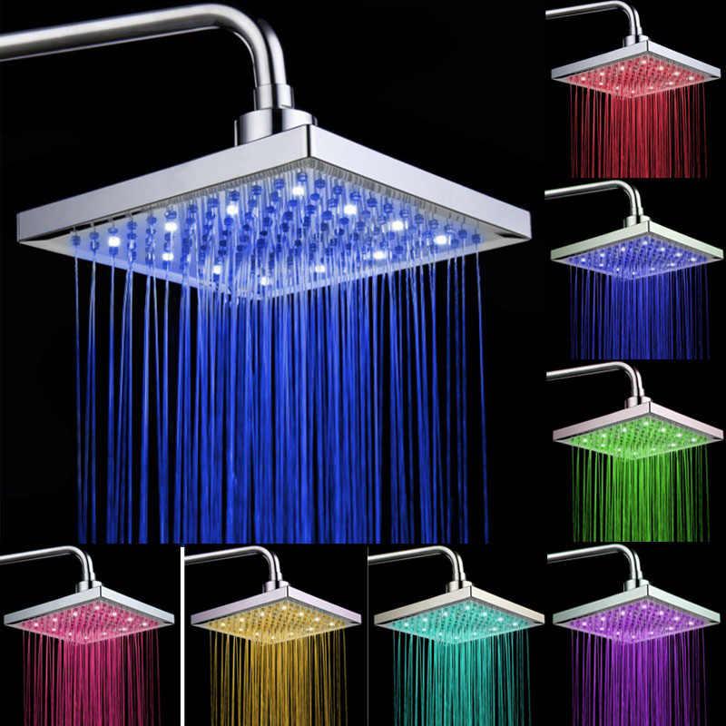 7 色混合 LED シャワーヘッドカラフルなライトトップ噴霧器平方レインシャワーヘッド