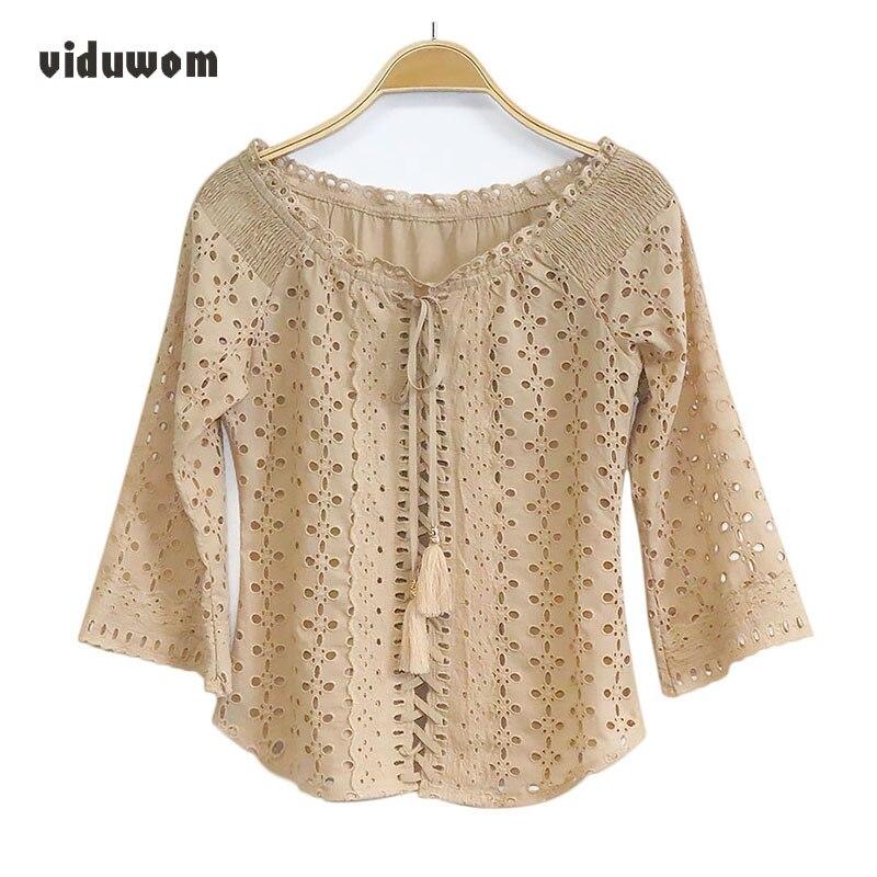 Cutumn New Slash Neck Women Shirts Fashion khaki Hollow Out Flare Sleeve Three Quarter Lady Blouse Female Strapless Shirt