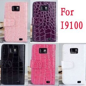 5pcs/lot Crocodile Leather Case for  Samsung I9100 wallet leather bag for samsung galaxy  S2 I9100 Free Shpping