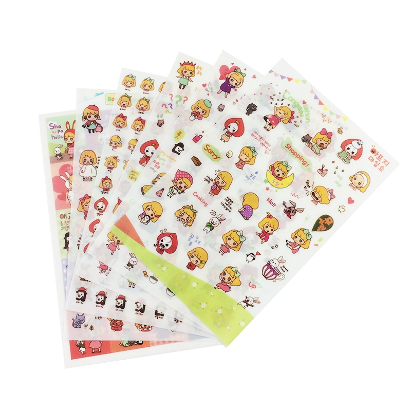 6 Sheet/pack Book Sticker Girls Diary Scrapbook Calendar Notebook ...