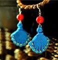 Новый бренд Ручной Этническая Тибетского серебра Искусственный coral arrings винтаж Женщин ювелирные изделия Китайский Стиль мотаться серьги подарок