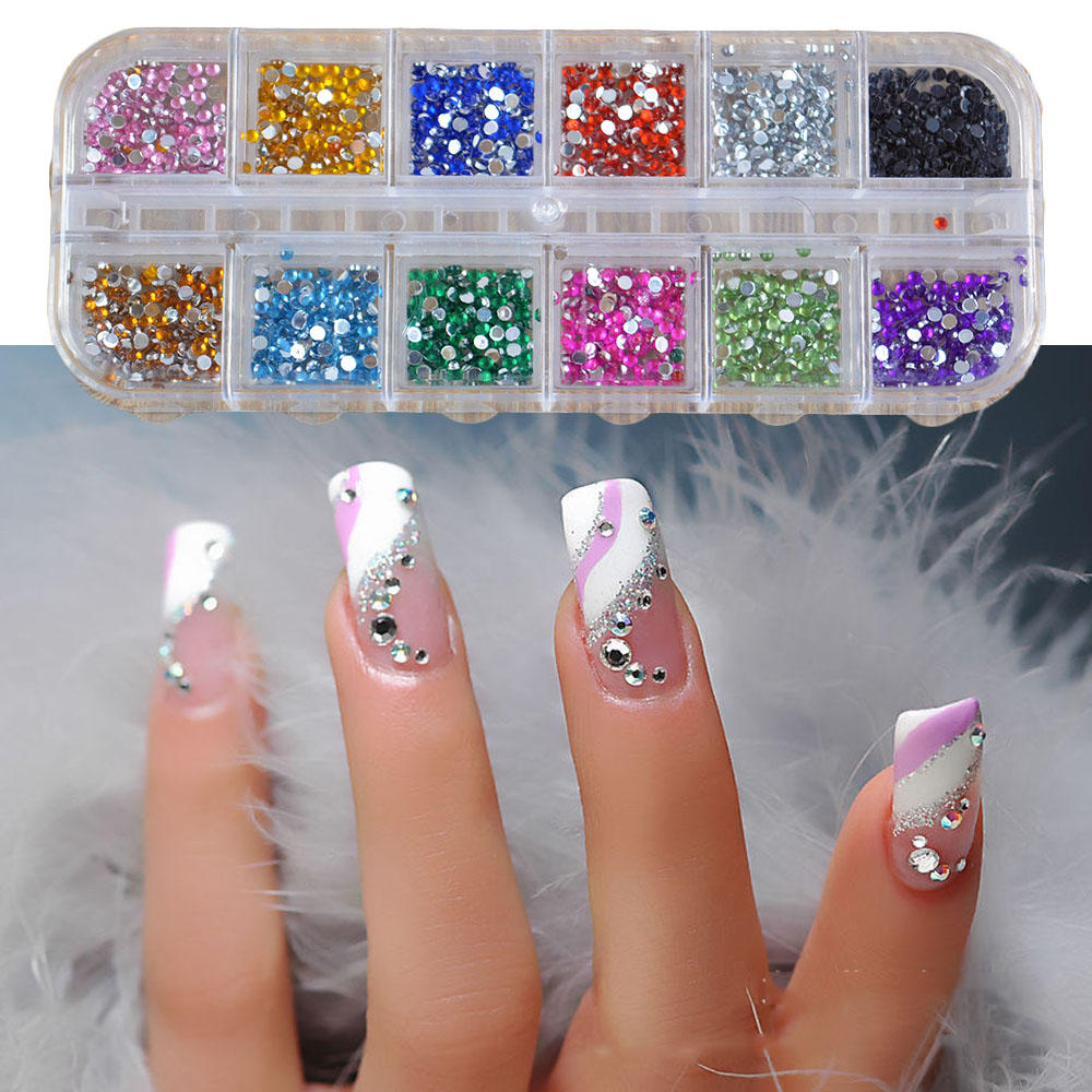 500Pcs Round Nail Art Rhinestones Glitter Decoration Mixed 12 Colors in Case gd26 16 20g bag cute solvent resistant mixed round glitter nail art shinny glitter cute decoration nail art decoration
