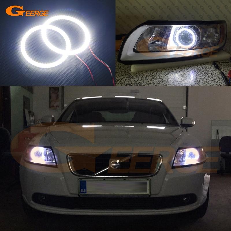 Для Вольво S40 V50 с 2008 2009 2010 2011 Галогенные фары ДХО отлично Ультра-яркий освещения SMD из светодиодов глаза Ангела гало кольцо комплект