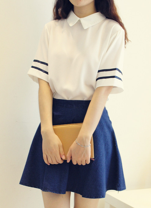 Beautiful Girl navy sailor suit school uniform set White shirt +Denim Blue skirt